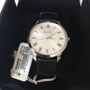 Bulova mens Leather Watch BRAND NEW